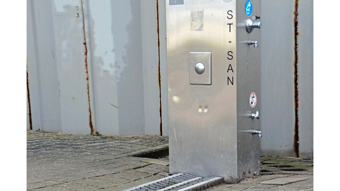 Frischwasser Station auf dem Stellplatz am Fähranleger