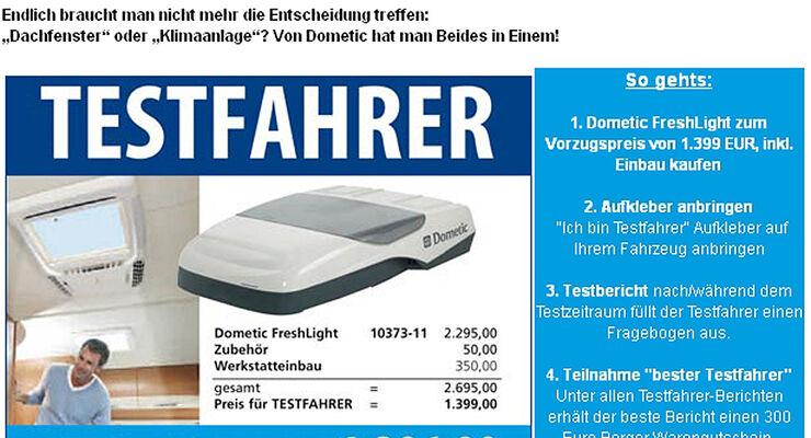 Fritz Berger sucht 18 Testfahrer für die Dometic FreshLight, die erste Dachklimaanlage mit integriertem Dachfenster