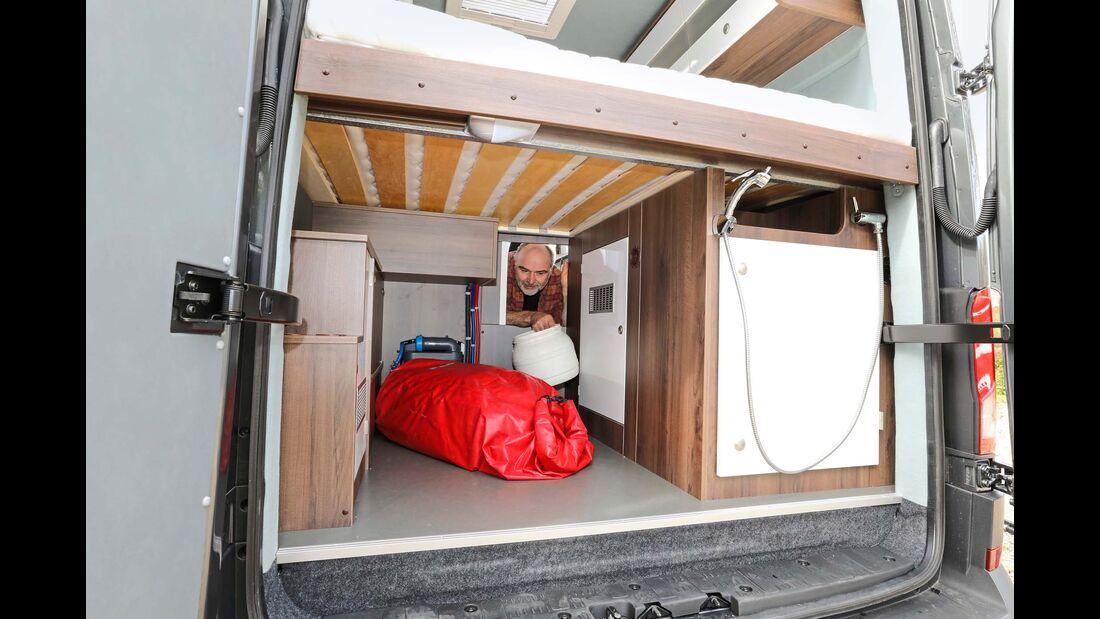 Für Campingmöbel und übliches Gepäck reicht der Heckstauraum gut aus.