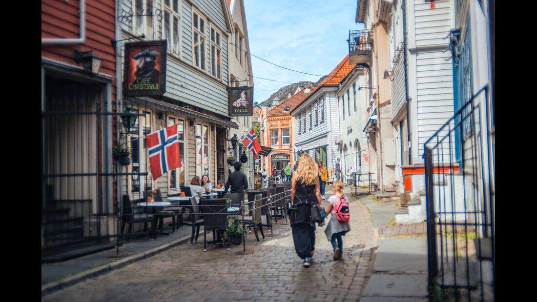Gässchen in einer norwegischen Stadt