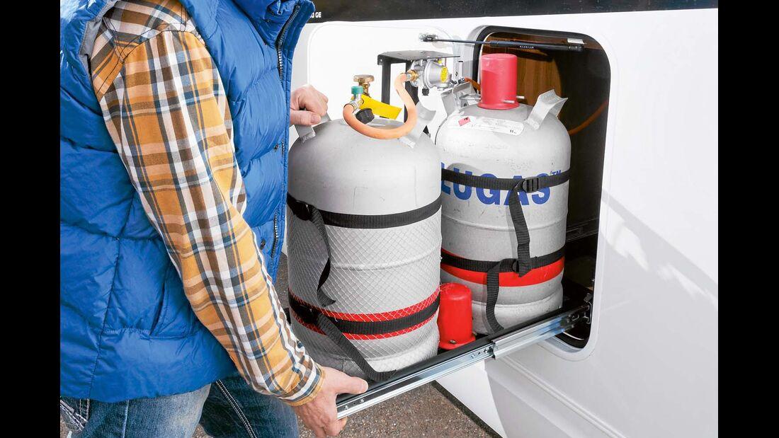 Gasflaschenauszug erleichtert Brennstoffversorgung im Hobby Optima