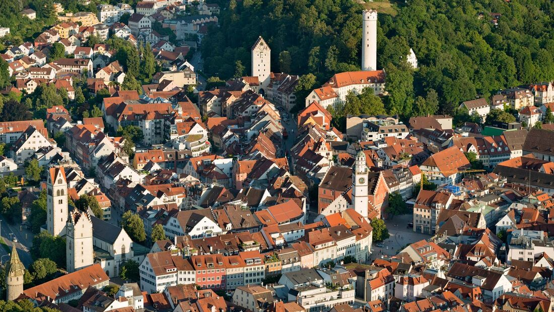 Germany, Baden-Wuerttemberg, Ravensburg, town towers in old town