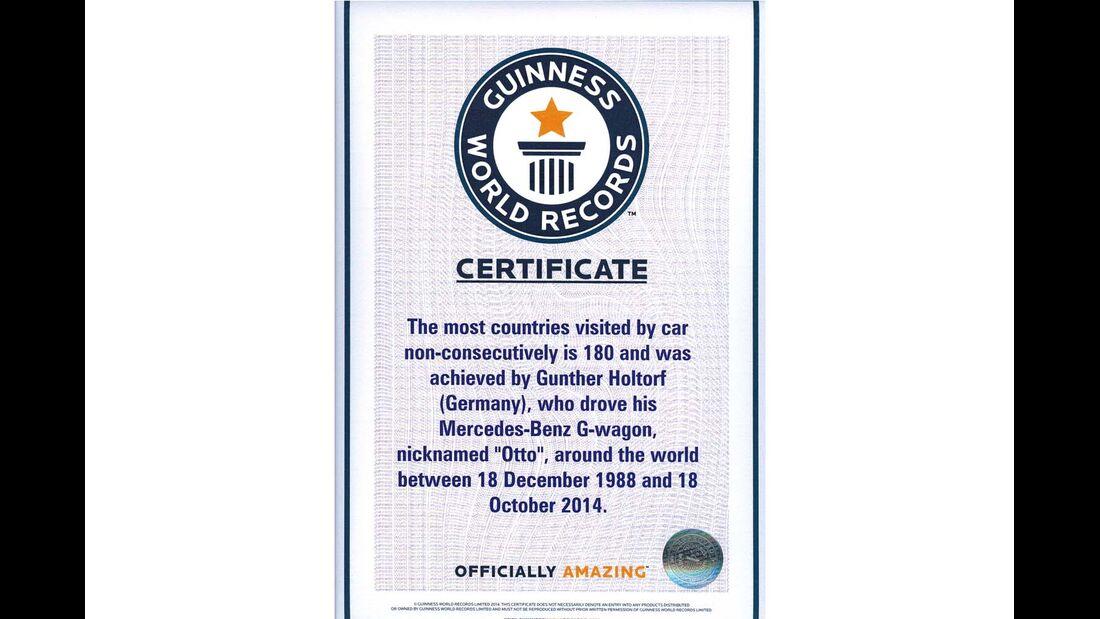 Guinness World Records Zertifikat