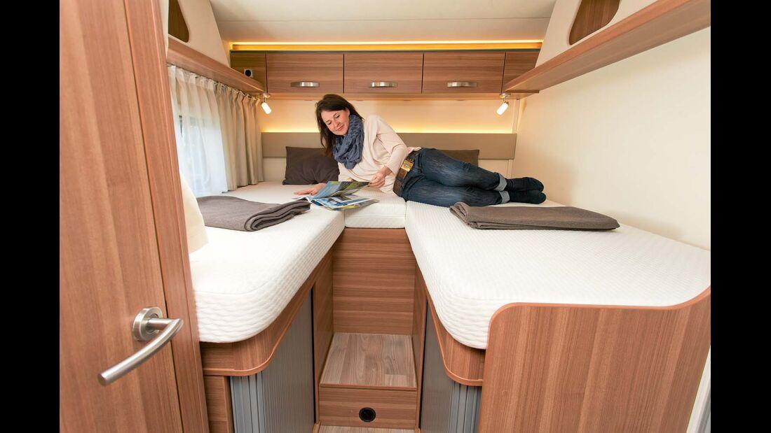 Hier sind beide Betten knapp zwei Meter lang und 88 Zentimeter breit.