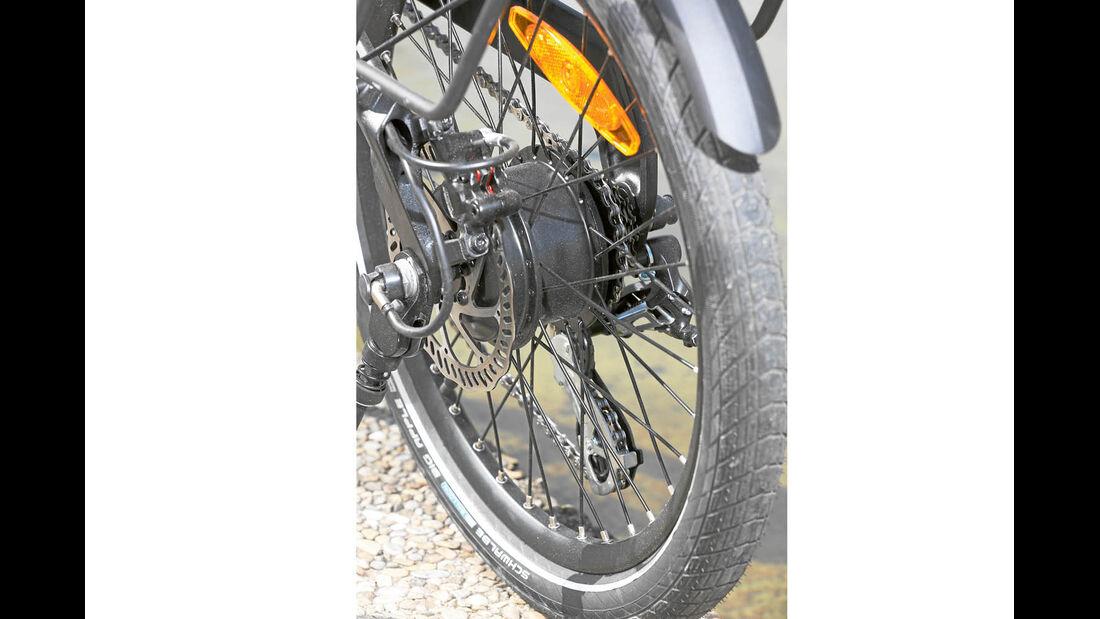 Hinterradmotor befindet sich in der Nabe und schiebt das PS1 kraftvoll an.