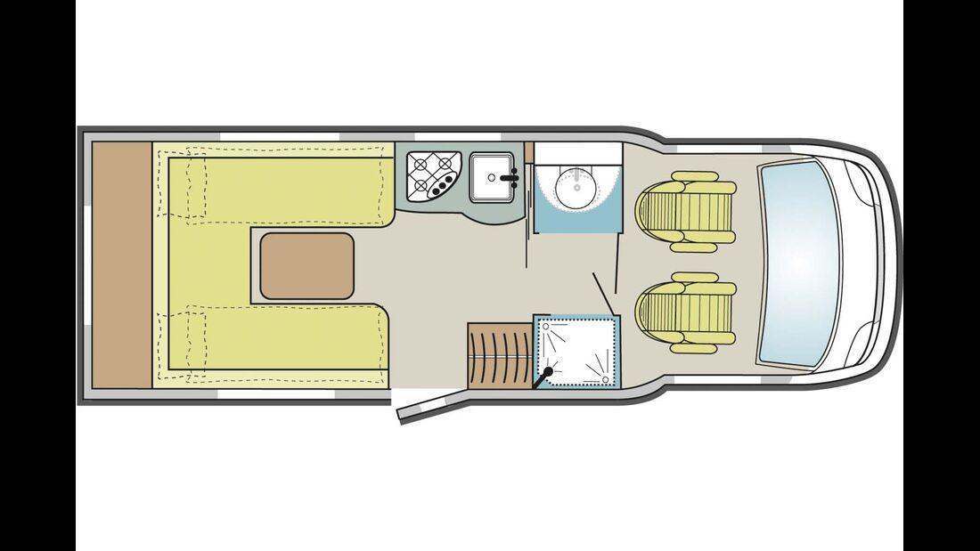 Hochwertiger Aufbau, Doppelboden, große Hecksitzgruppe, schneller Umbau zum Bett, großes Bad, Fahrradgarage, Alko-Tiefrahmen