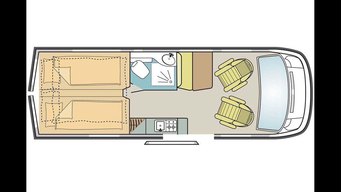 Im Heck des 6,36 Meter langen Flex E ist Platz für zwei längs angeordnete Liegeflächen.