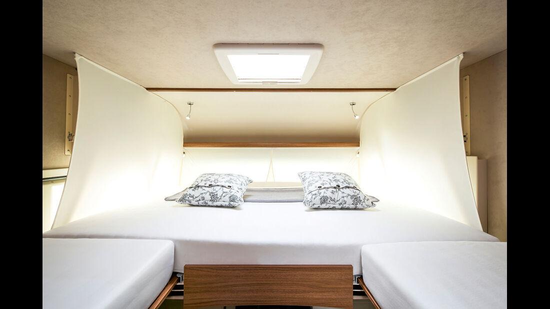 Im Integrierten sind vorne montierte Einzelbetten möglich.