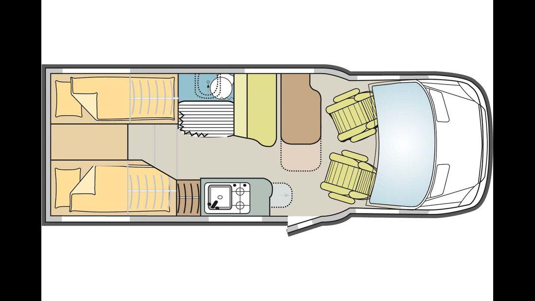 Im S 520 gibt es Einzelbetten.