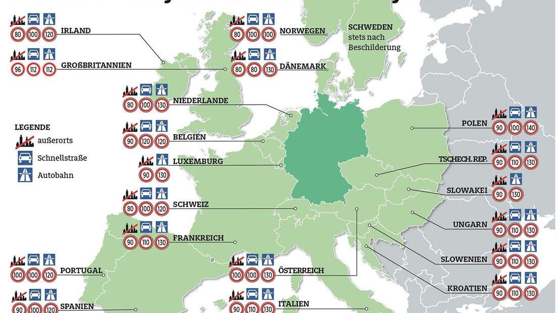 In Europa drohen Temposündern hohe Bußgelder