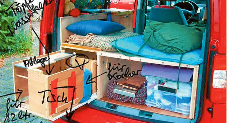 vw caddy ausbau ein personen zweitmobil promobil. Black Bedroom Furniture Sets. Home Design Ideas
