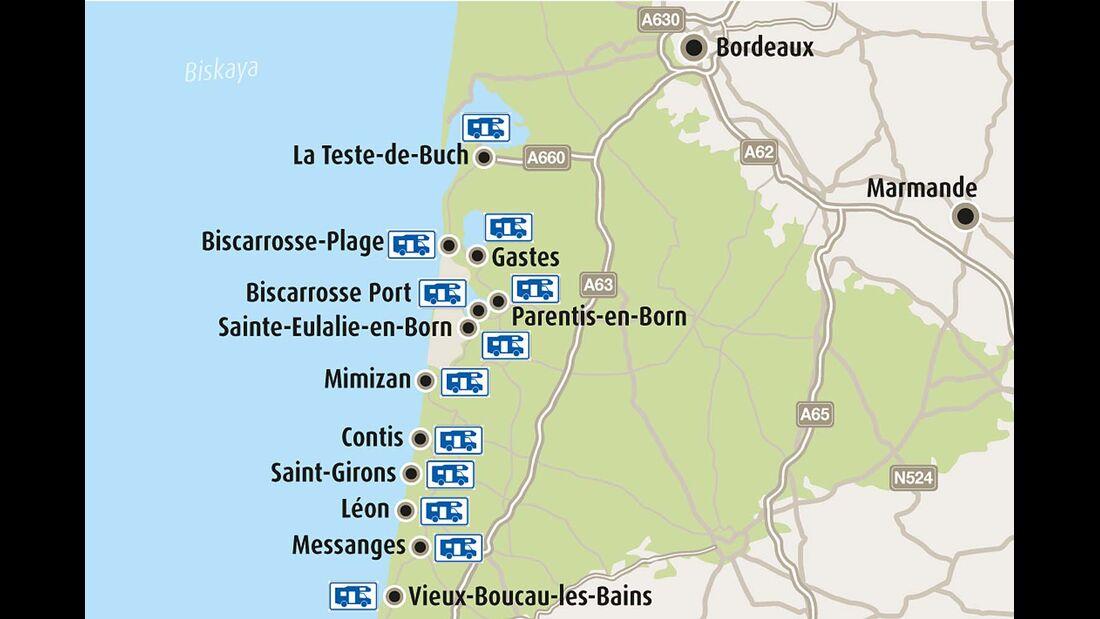 Karte Côte d'Argent
