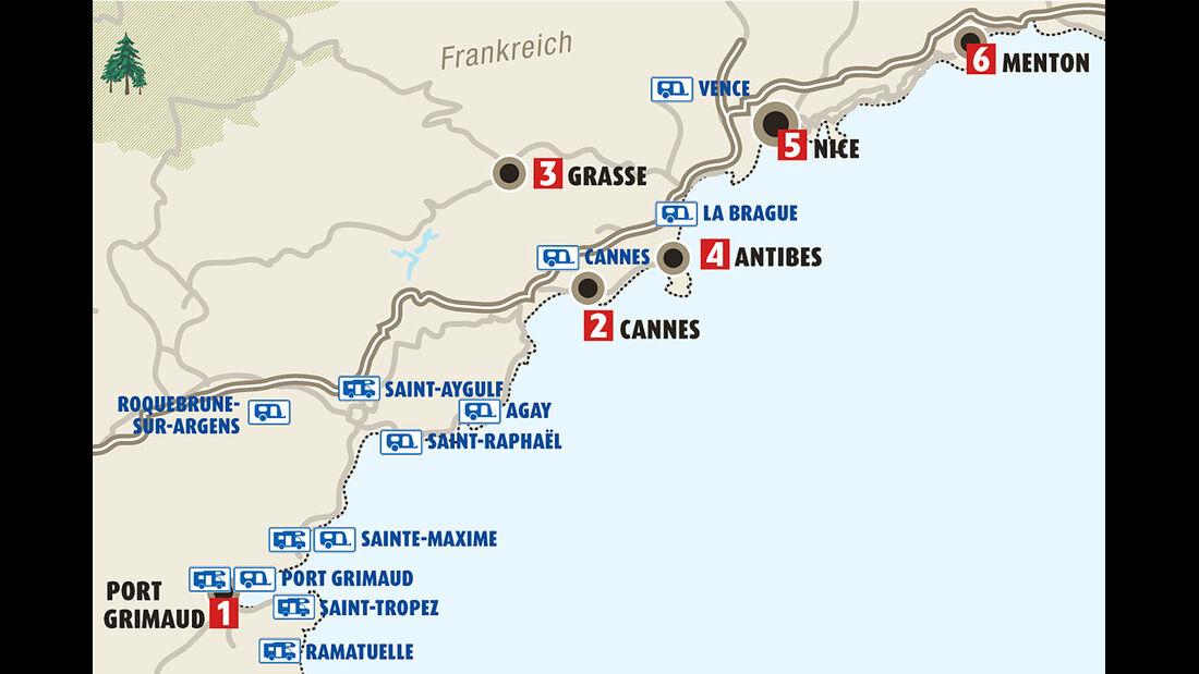 Karte Côte d´Azur