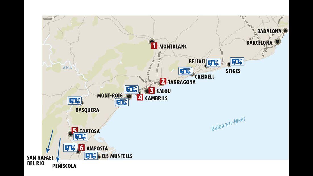 Karte Costa Daurada
