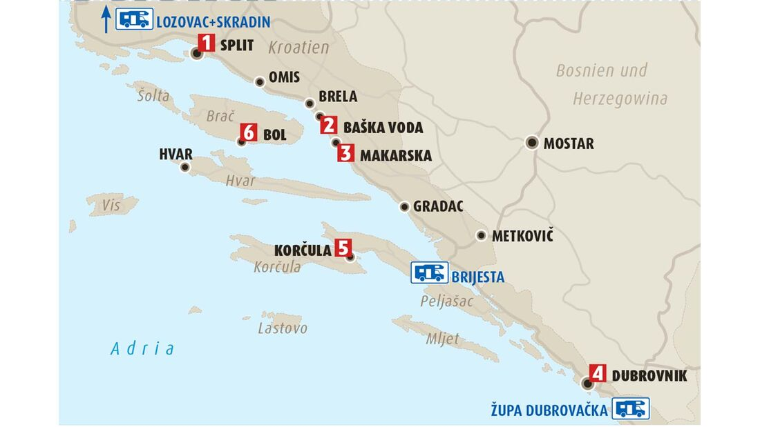 Karte Dalmatien