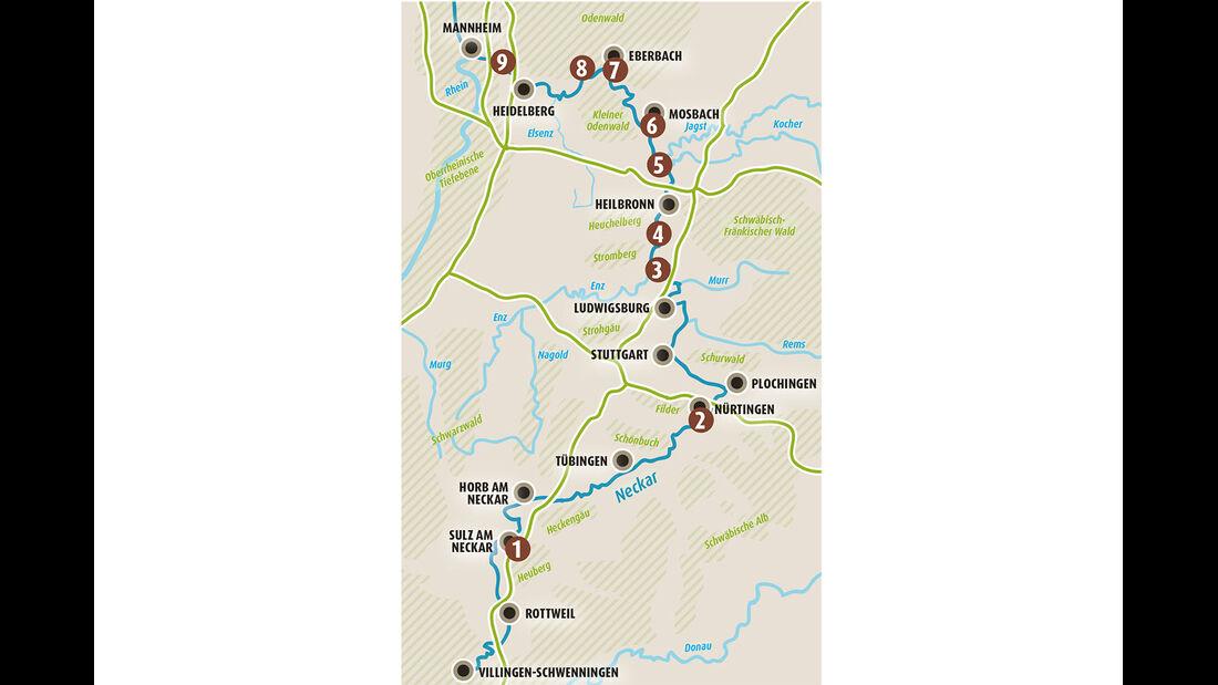 Karte Fernradweg Neckar