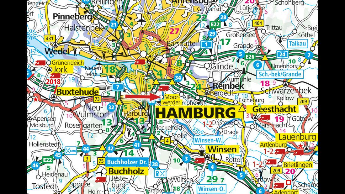Karte Hamburg