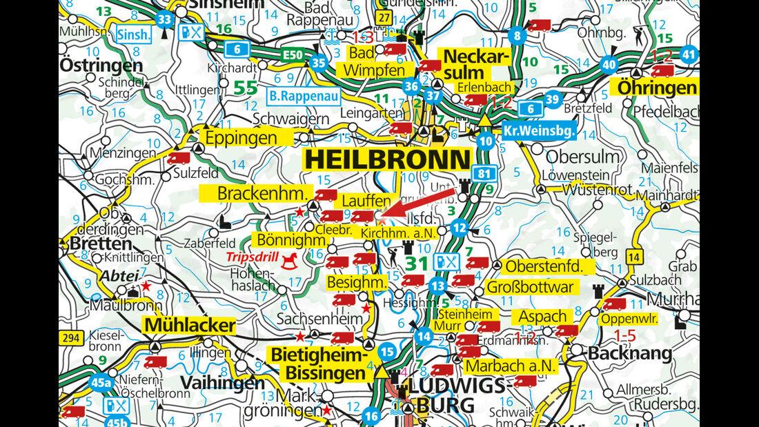 Karte, Lauffen am Neckar