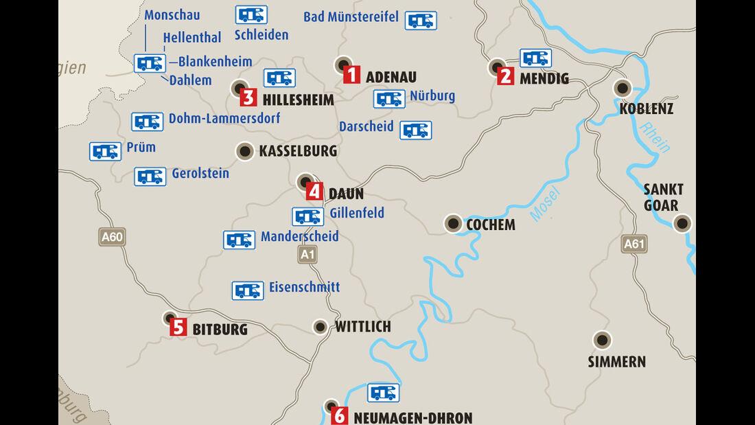 Karte Region Eifel