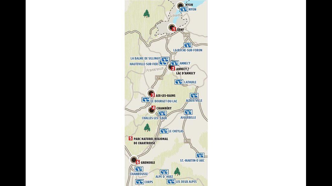 Karte Region Rhone-Alpes