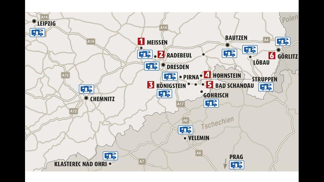 Karte Region Südostsachsen