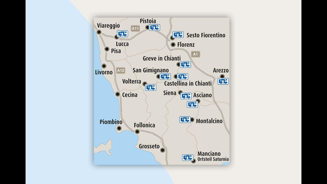 Karte der Toskana