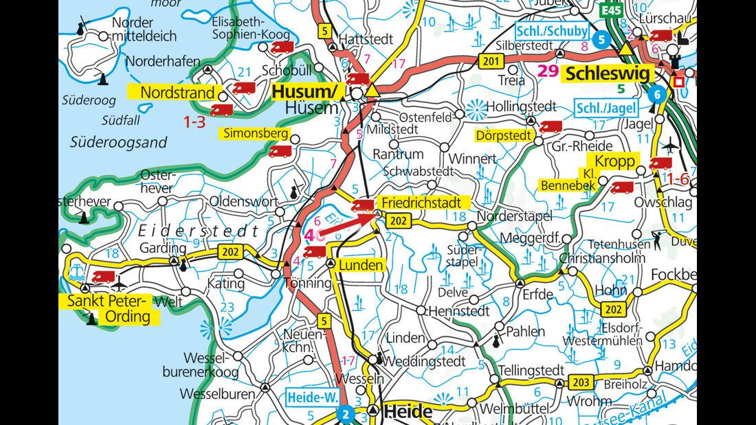 Karte von Schleswig Holstein