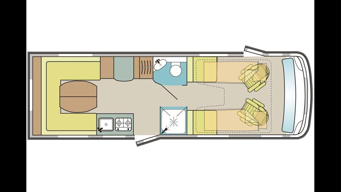 Komfortabler Reisewagen für zwei bis vier Personen.
