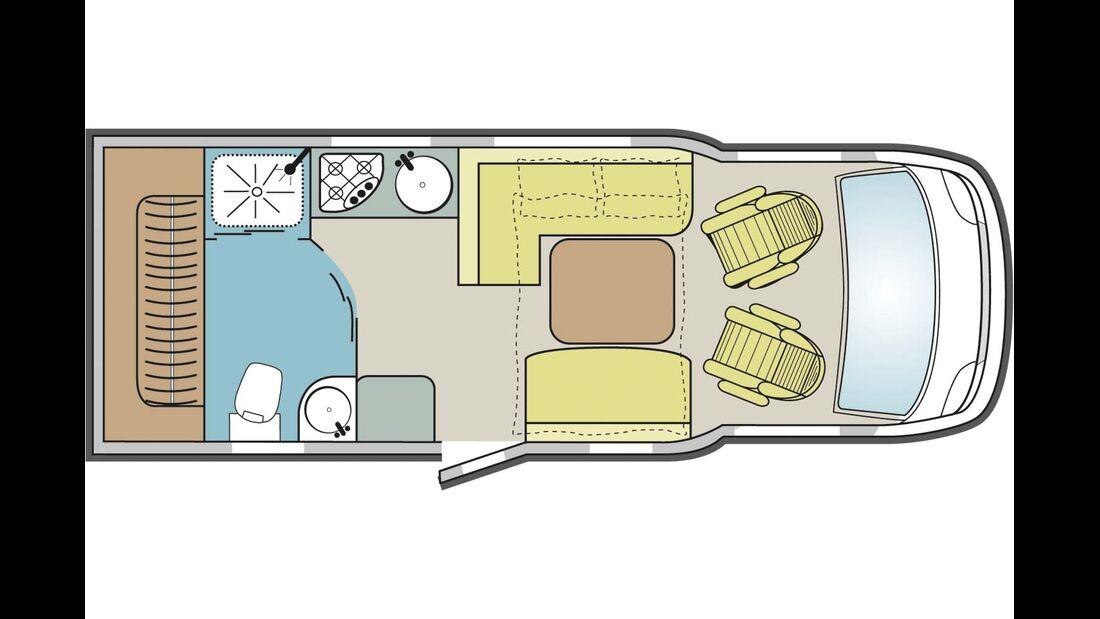 Kompakte Abmessungen, große Sitzgruppe, 175-L-Kühlschrank, sehr großes Bad, Fahrradgarage, Ford oder Fiat, günstiger Preis