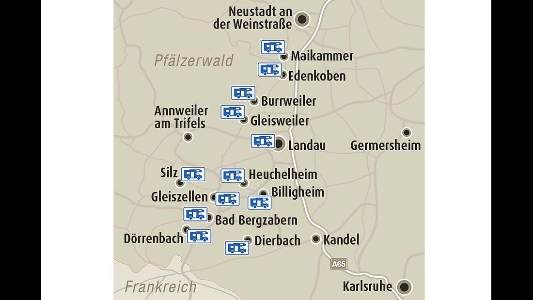 Landkarte, Weinstraße