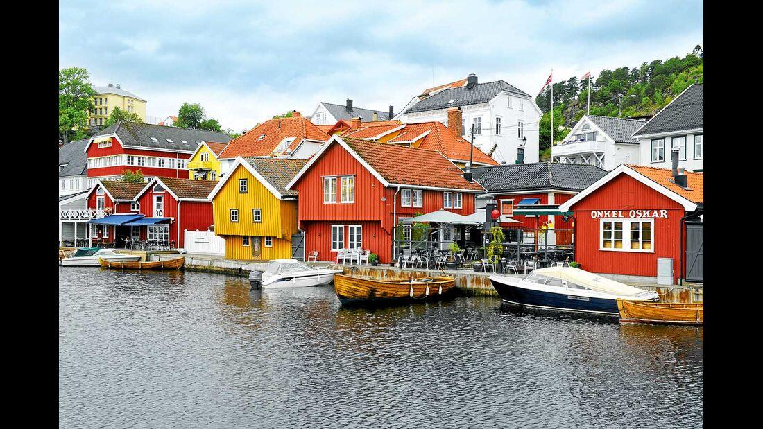 Langesund bunte Häuser Norwegen