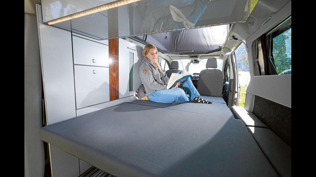 Liegefläche kann als echtes Doppelbett dienen beim Trio-Style
