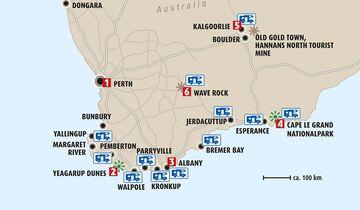 MT Westaustralien Südwesten Karte