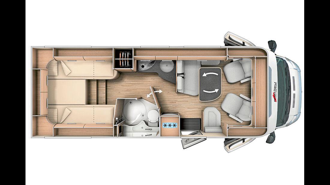 Malibu T 440: Queensbett-Alternative mit separater Dusche.