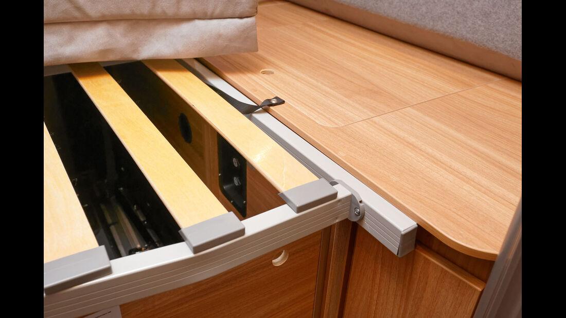 Matratzenflaeche liegt ohne Unterlüftung direkt auf dem Holzkasten auf.