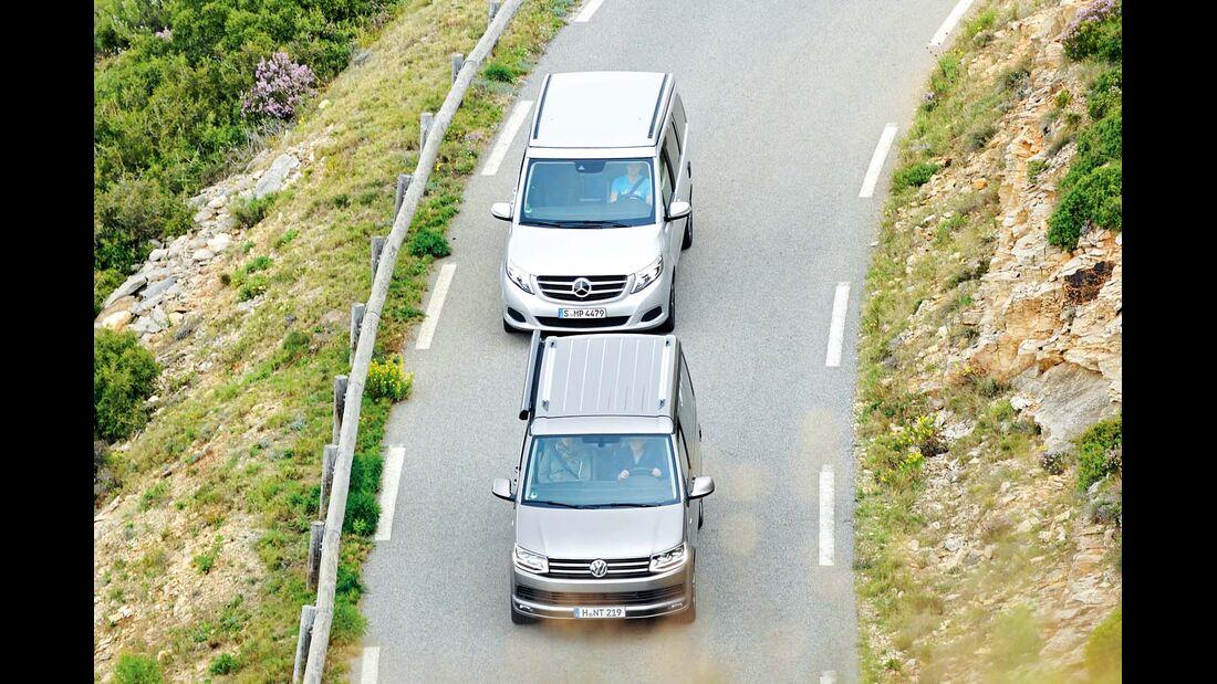 Mercedes Marco Polo und VW California Ocean auf Landstraße