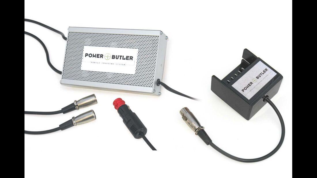 Mit passendem Adapteranschluss kann das Ladegerät Powerbutler E-Bike-Akkus unterschiedlicher Hersteller an 12 Volt laden.