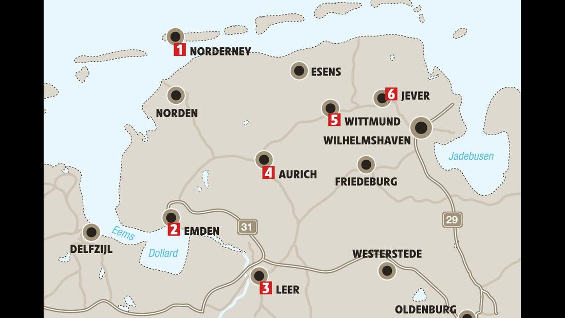 Mobil-Tour: Ostfriesland, Karte