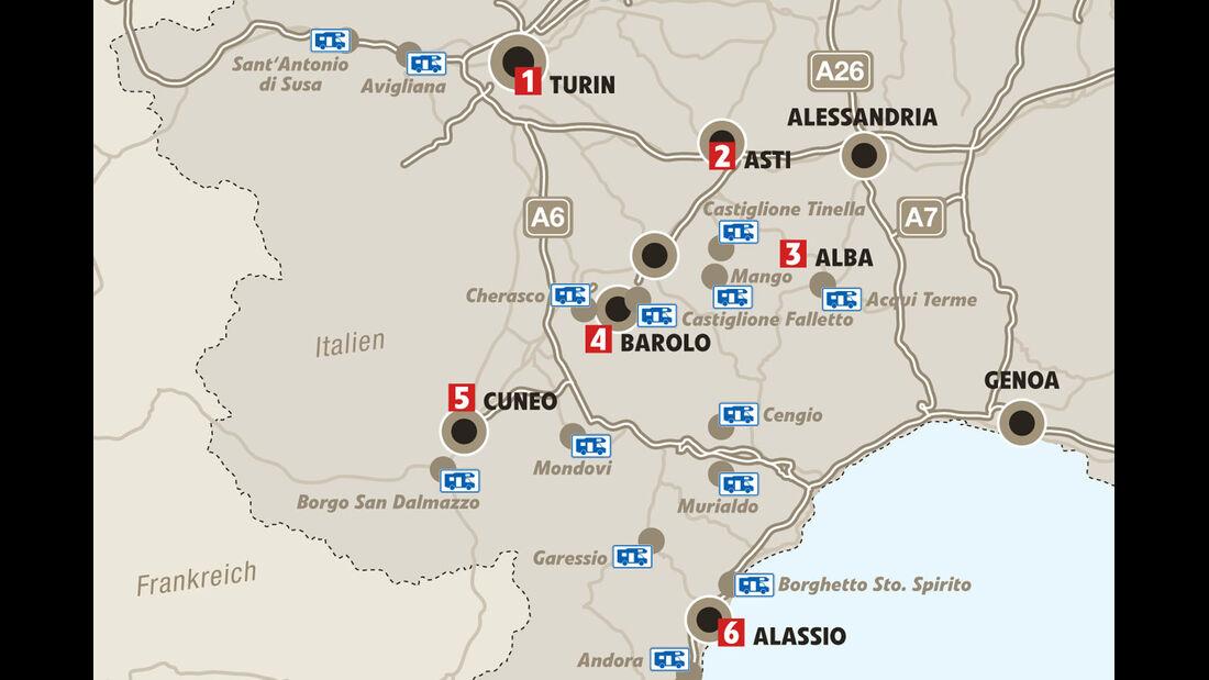 Mobil-Tour: Piemont, Karte