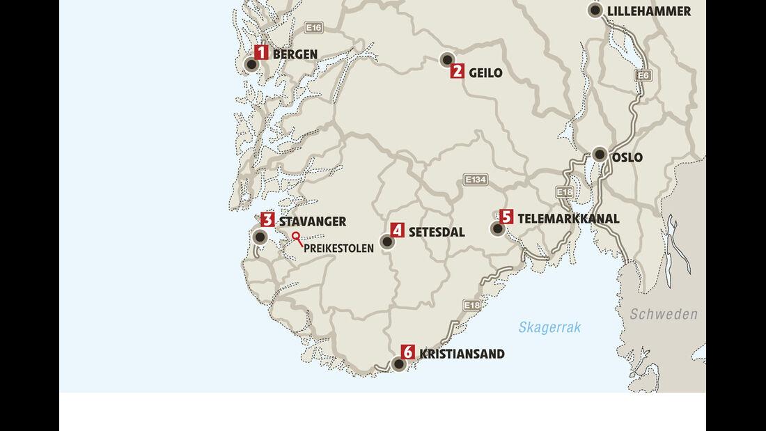 Mobil-Tour: Süd-Norwegen