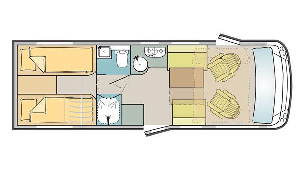 Mobilvetta Kea I 86 (2021) im Grundriss