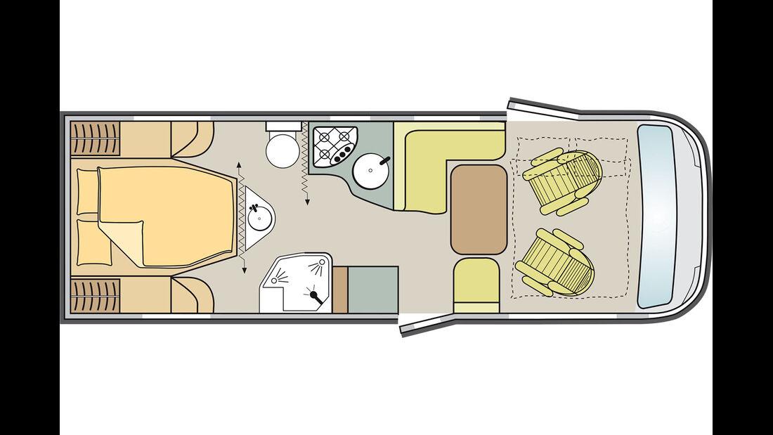 Moderner Grundriss mit Waschtisch am Bettende.