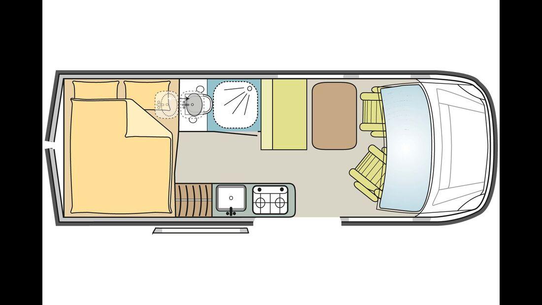 Möbel aus Sperrholz, Sitzbank mit 2 Dreipunktgurten, Heckbett 1800 x 1130–1360 mm, Bad mit Kassettentoilette und integrierter Dusche, Küche mit Zweiflammkocher und Kompressorkühlschrank 47 L.
