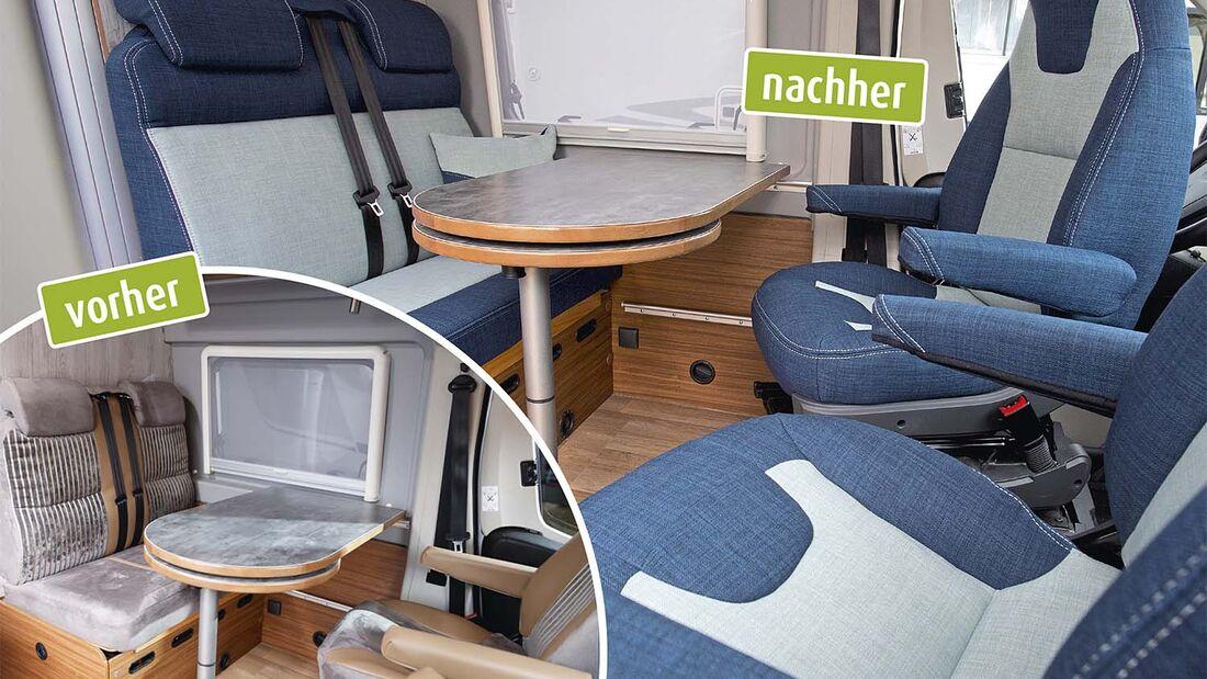 Neu bezogene Sitze