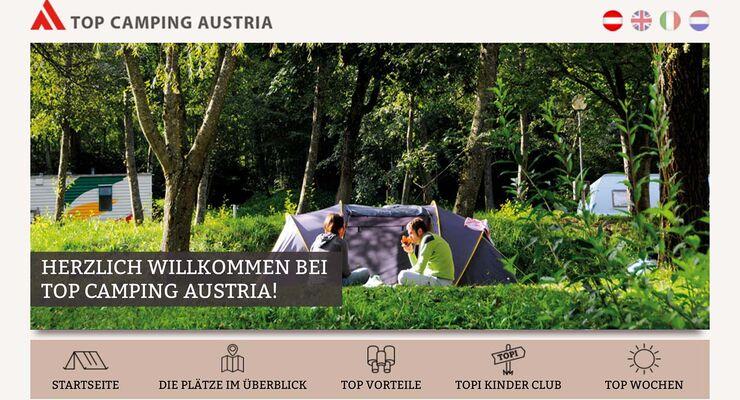 Neuer Webauftritt Top Camping Austria