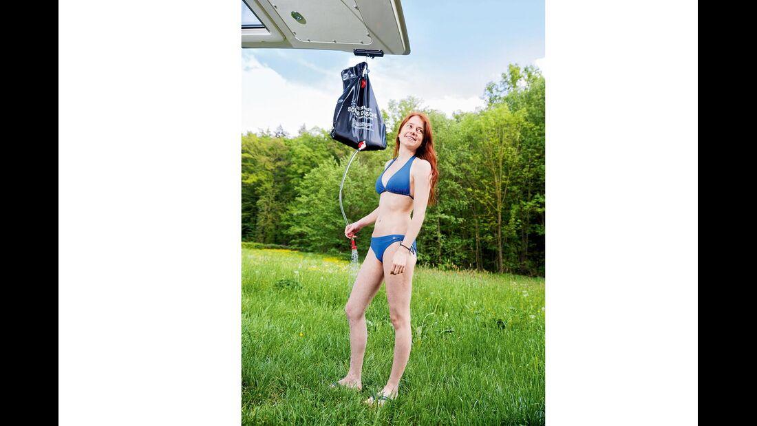 Nicht immer kann der Solarbeutel ausreichend hoch gehängt werden.
