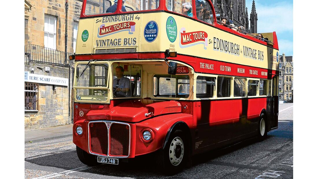 Offener Doppeldeckerbus in Edinburgh