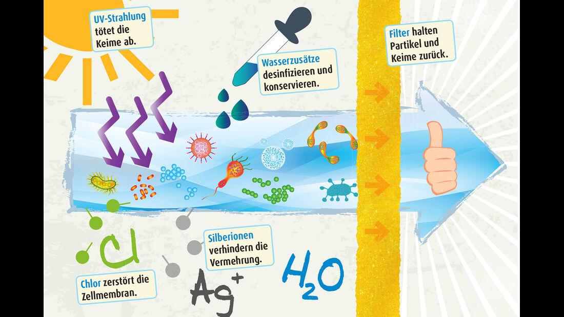 Organismen lassen sich mit starkem UV-Licht oder Chlor eliminieren.