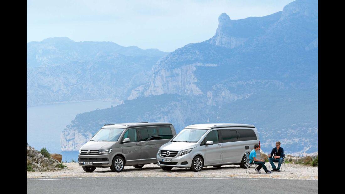 Pause an der Route des Crêtes mit VW California und Mercedes Marco Polo