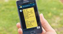 Per SMS werden die uebernommenen Einstellungen bestaetigt.